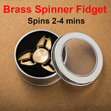 Copper Tri Fidget Hand Spinner Triangle Brass Finger Toy EDC Focus ADHD Autism
