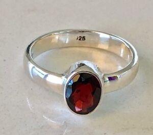 925 Sterling Silver Garnet Ring Gemstone Stack Stackable Size 5 6 7 8 9 10 11