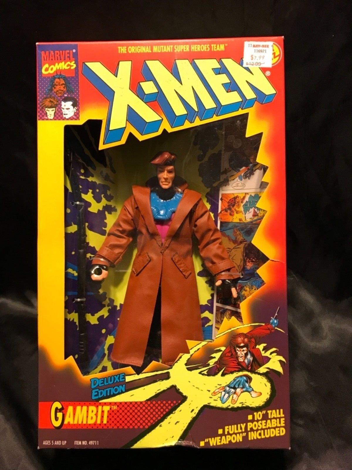 """1994 TOY BIZ X-MEN DELUXE EDITION GAMBIT GAMBIT GAMBIT FIGURE 10"""" IN BOX 703138"""