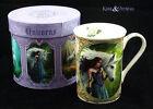 "Anne Stokes Bone China Mug Cup: ""Enchanted Pool"" White Unicorn with Maiden"