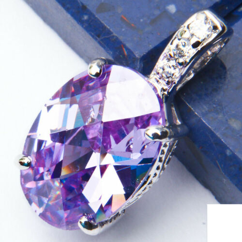 """Faceted Amethyst /& CZ .925 Sterling Silver Pendant .75/"""""""