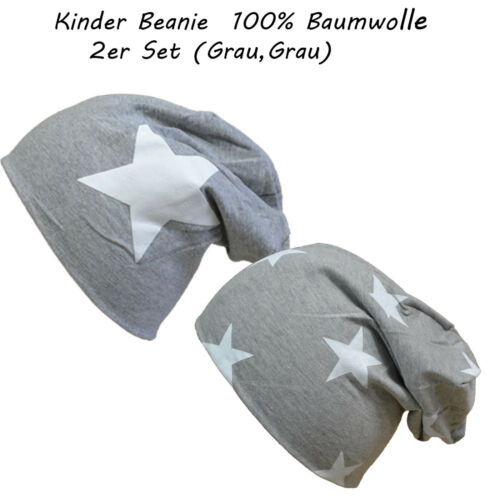 2 Stück Paar Baumwolle Stern /& Sterne Gr.S 43-47 cm Kinder Mütze Mädchen Beanie