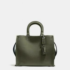 NWT-Coach-Rogue-30-Pebble-Leather-Olive-Green-Satchel-Shoulder-Bag-F38124