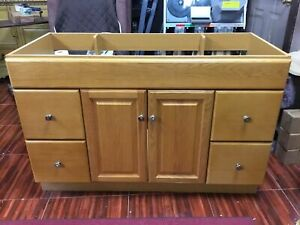 New Bathroom Vanity Drawer Base Cabinet Oak Finish 48 ...