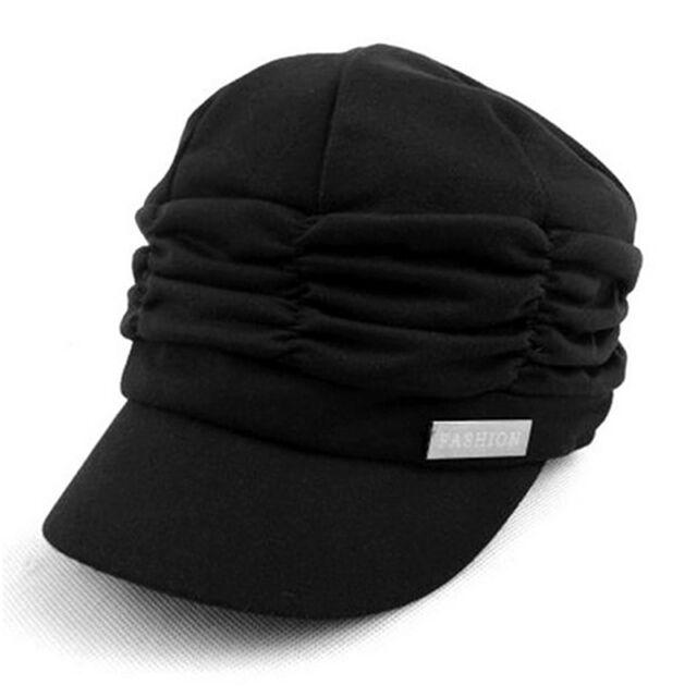 Womens Pleated Layers Beret Beanie Hat Peaked Brim Girls Summer Visor Flats Caps