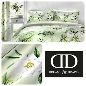 Dreams-amp-Drapes-FLORENCE-Green-Easy-Care-Pencil-Pleat-Curtains-amp-Bedding
