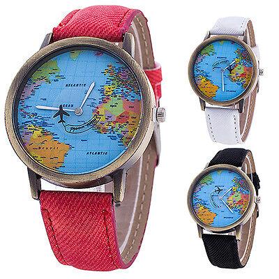 Women's boy World Map Dial Denim Fabric Strap Analog Quartz Students Wrist Watch