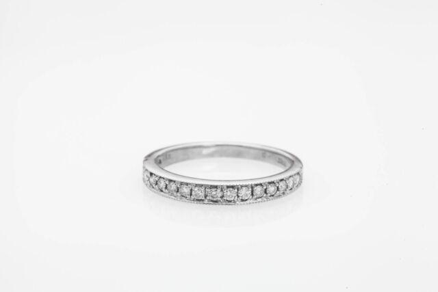 Estate .50ct Natural Diamond $1400 14k White Gold Wedding Band Ring