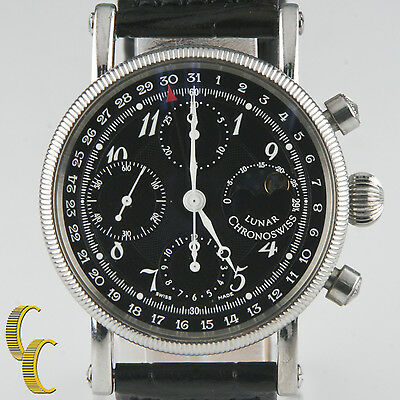 Chronoswiss Lunar Chronograph Stainless Steel Men's Watch w/ Leather Band