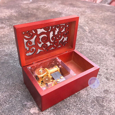 "Music Boxes Able Play ""mariage D'amour"" Hollow Out Wooden Sankyo Music Box With A Jewelry Box"