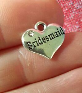 20 X Mariage Coeur Charms Plaqué Argent Faveurs Demoiselle D'honneur. Vendeur Britannique-afficher Le Titre D'origine