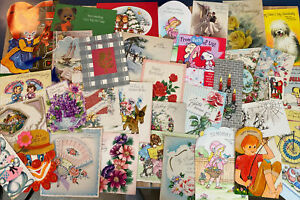 Vintage-Greeting-Cards-Lot-1940s-And-Up-35-Cards-Ephemera-Mixed-Lot-A
