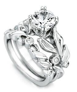 0.48 Ct Round cut Moissanite Band Set 14K Solid White Gold Wedding Ring Size 4