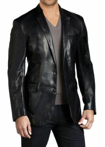 Classique Homme Véritable Peau D/'Agneau Blazer Cuir Deux Bouton Manteau Noir