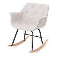 Fauteuil à bascule Malmö T820, rocking-chair, basculant ~ tissu, crème/gris