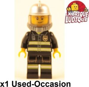 Lego-Figurine-Minifig-Pompier-Firefighter-fire-feu-casque-airtank-oxygene-USED