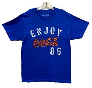 Coca-Cola-Men-039-s-Enjoy-Coke-86-Graphic-Licensed-T-Shirt-Blue-New