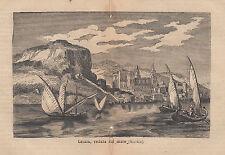 1876 xilografia Cefalu veduta dal mare (Sicilia)