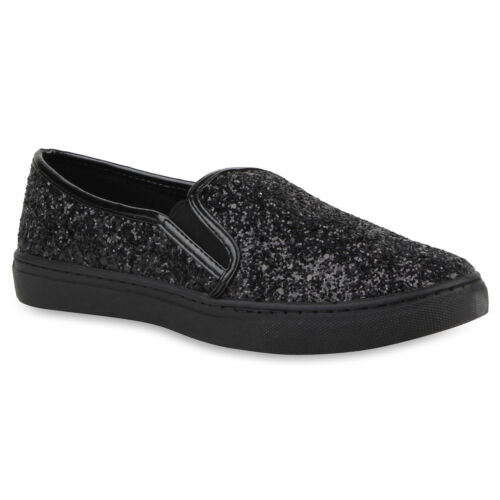 Damen Sneakers Slipper Slip-ons Glitzer Skaterschuhe Flats 78349 Top