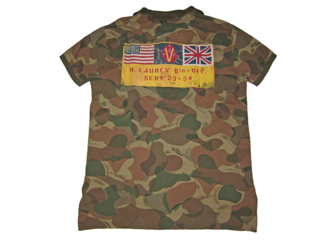 Polo Ralph Lauren Army Camouflage Camo Military USA Flag Shirt M
