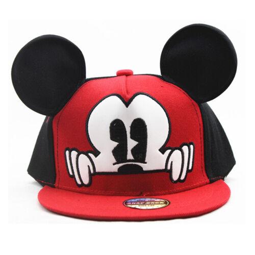 Kids Girls Mickey Minnie Mouse Baseball Cap Snapback Sports Hip-Hop Sun Hats