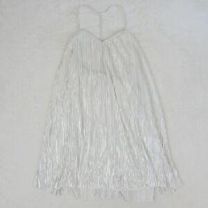 Womens-Volcom-Short-Dress-Just-Pleat-It-White-Mini-Cami-Dress-Sz-Large-NEW-98