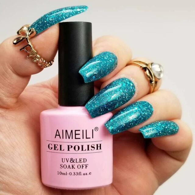 AIMEILI Diamond Glitter Green UV LED Soak Off Gel Polish Teal Blue ...