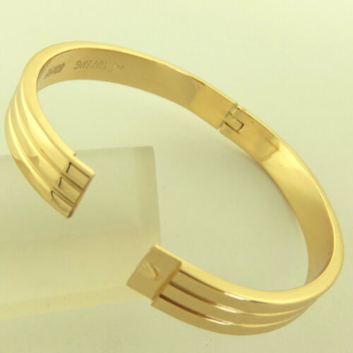 Bangle Bracelet Hinged Cuff Genuine Real 18k Yellow G//F Gold Solid Antique Style