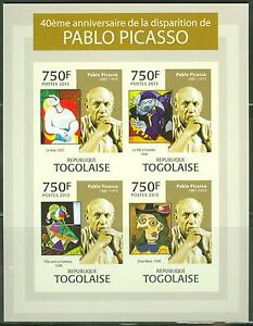 TOGO 2013 PABLO PICASSO 40TH MEMORIAL ANNIVERSARY SHEET OF FOUR STAMPS IMPERF