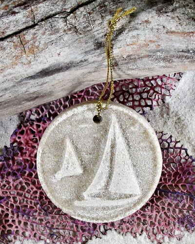 SAILBOATS on a string Made with Sand Tropical Beach Sunset Ornament