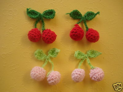 10Pcs Cherry Crochet Appliques Crafts Scrapbooking Embellishment Card Making