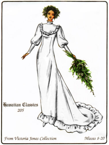 Classic Hawaiian Wedding Dress w//Train sz 8-20 Victoria Jones Sewing Pattern 205