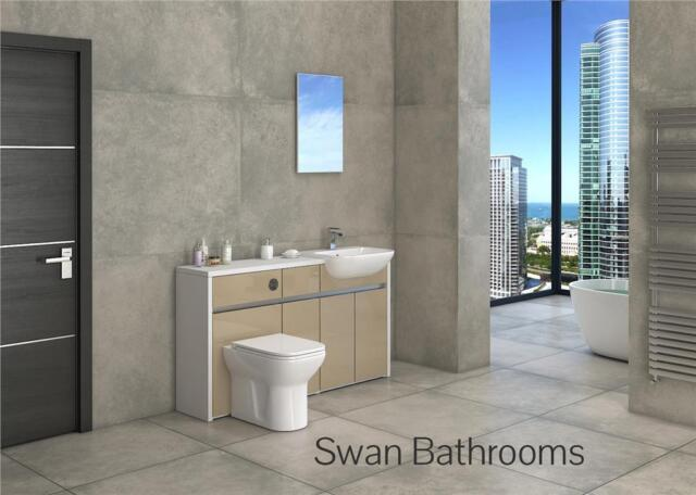 WHITE / CAPPUCCINO GLOSS BATHROOM FITTED FURNITURE 1500MM