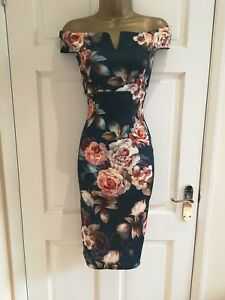 Womens-Ladies-New-Summer-Floral-Blue-Bardot-Evening-Bodycon-Dress-Size-8-14