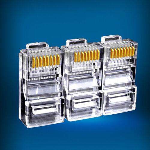 50//100pcs RJ45 Modular Plug Network Cable LAN Connector Plug 8P8C CAT5 CAT5E NEW