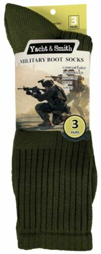 Yacht /& Smith Men/'s Military Boot Socks  Size 10-13  3 PR//Pack