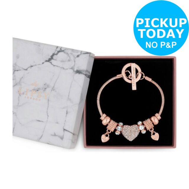 d618908d326 Lipsy Gold Plated Crystal Pave Heart Charm T-bar Bracelet.