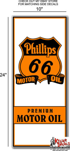 """24/""""X10/"""" PHILLIPS 66 panel OIL LUBSTER FRONT DECAL CAN GAS GASOLINE PHIL-LUB-4"""