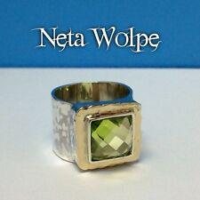 Rare Neta Wolpe Square Checkerboard Cut Peridot 925/14k Wide Hammer Finish Ring