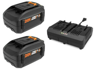 WORX WO7071 20V PowerShare Combo (2)  6.0 ah Batteries + Dual Quick Charger