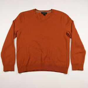 Mens Banana Republic Large Orange 100% Merino Wool Pullover V-neck Sweater