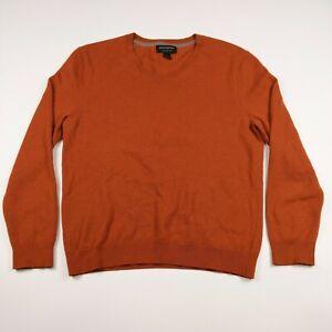 Mens Banana Republic Large Orange 100% Merino Wool Pullover V-neck Sweater