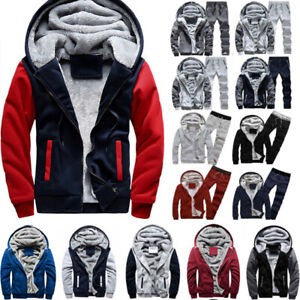 Mens Long Sleeve Hooded Hoodie Sweatshirt Winter Warm Fleece Fur Jacket Coat