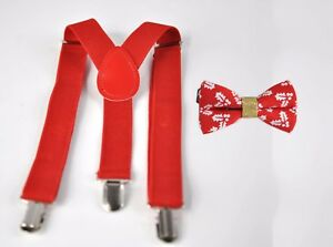 BOYS KIDS Toddler Red Braces Elastic Suspenders Bowtie Bow Tie 1-8 Years Old