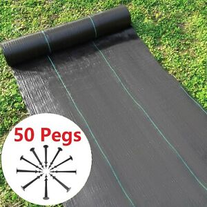 1m-4m Wide Heavy Duty Weed Membrane Weed Control Fabric Ground Cover Mat + Pegs