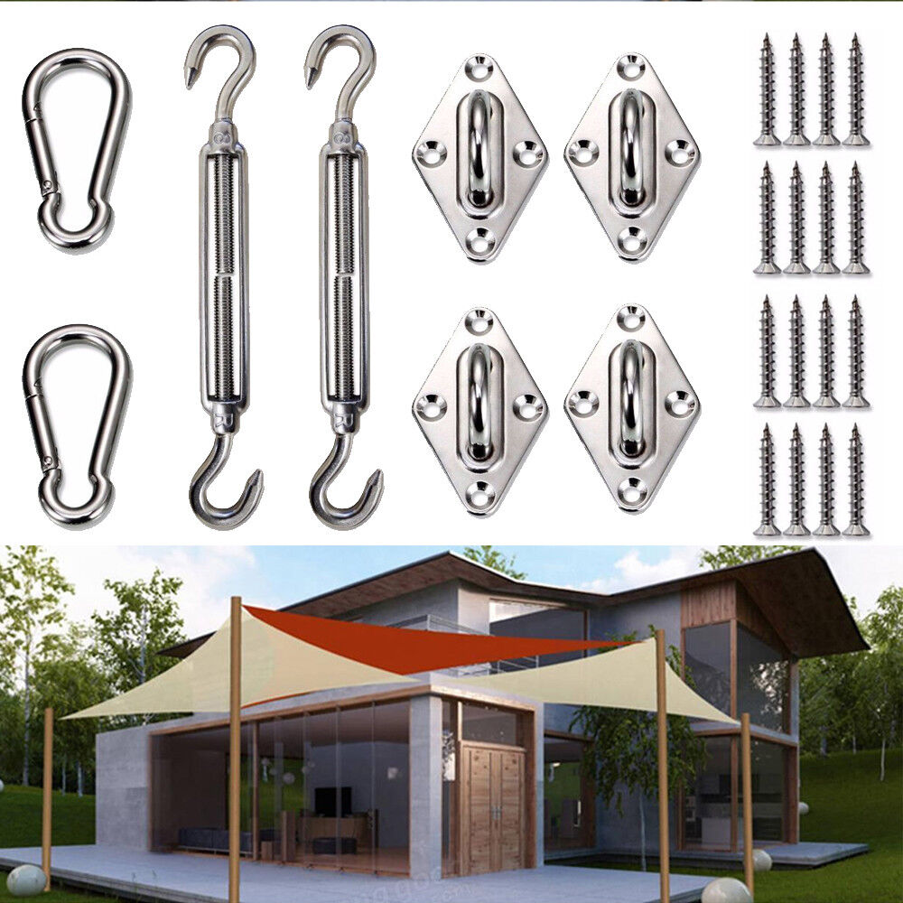 LOVE STORY Shade sail Hardware Kit 8 Inches 316 Stainless Steel for Rectangle Heavy Duty Sun Shade Sail Installation for Deck Garden Lawn Patio