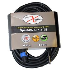 """PROX Speakon to 1/4"""" TS 12awg High Performance DJ Speaker Cable 100ft Xc-sq100"""