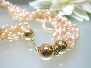 15 vintage Japan colors Rice Pearl designer choker necklace 14k gold ball clasp