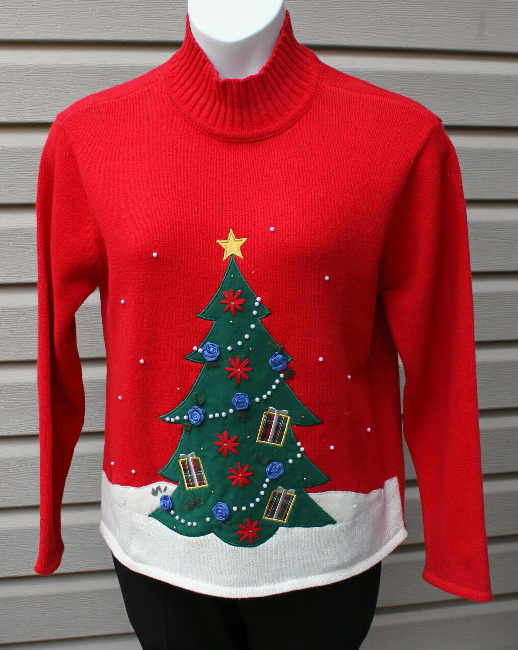 Ugly Christmas Sweater Party Embroidered Beads Tree Ribbon pinks Pearl Garland L