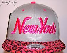 New York Leopard Snapback caps, NY dope flat peak baseball fitted hats grey/pink